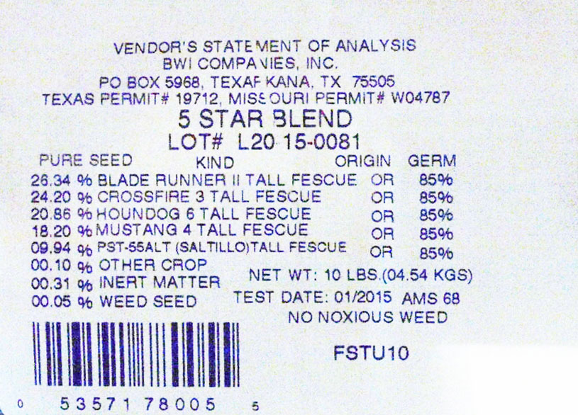 5 Star Turf Type Tall Fescue Label