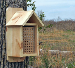 Drilled Wood Block Nesting Tubes with Milti-Purpose Bee House